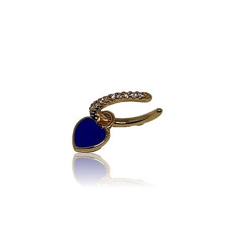 Brinco piercing fake/falso dourado com coração azul