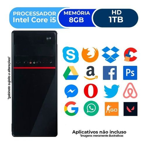 Pc Cpu Intel Core I5 + 8gb+ 1tb+ Placa De Video 2gb Wi-fi