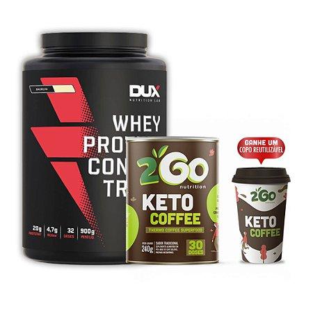 WHEY PROTEIN (900g) DUX NUTRITION + KETO COFFEE (240g) 2GO NUTRITION