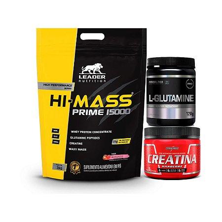 HI - MASS PRIME 15000 (3kg) + L- GLUTAMINE (120g) + CREATINA (150g)