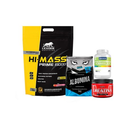 HI - MASS PRIME 15000 (3kg) + ALBUMINA (500g) + CREATINA (150g) + Polivitamínico e Mineral de A-Z (120tbs)