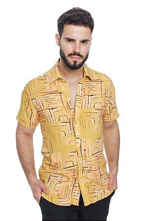 Camisa Viscose Mostarda Geométrica