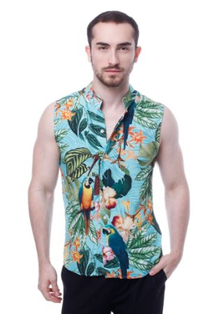 Camisa Viscose Machão Arara Azul