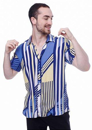 Camisa Viscose Listras Azul