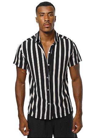 Camisa Viscose Listrada Black&White