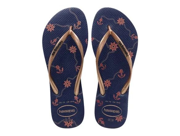 Havaianas Slim Nautical - Azul Marinho/Rose Gold