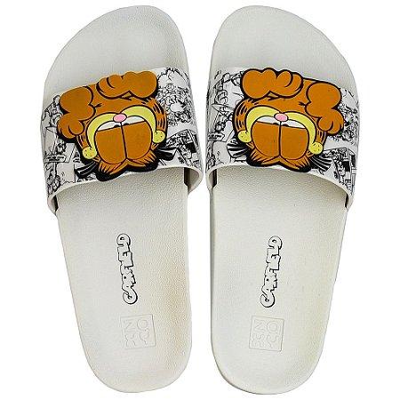 Chinelo Zaxy Lazy Garfield Slide - Branco
