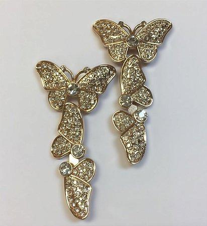 Cabedal I Borboleta Cristal Dourado - Par