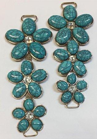 Cabedal I Trio de Flor Azul Turquesa - Par