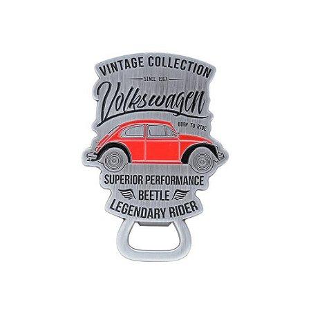 Abridor de garrafa magnético modelo Vintage com fusca vermelho Volkswagen