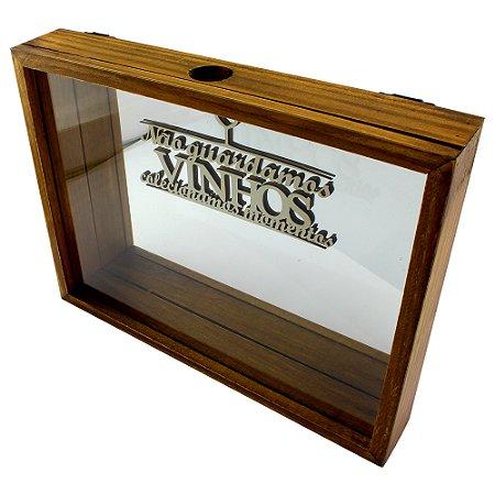 Caixa porta rolhas espelhada horizontal luxo