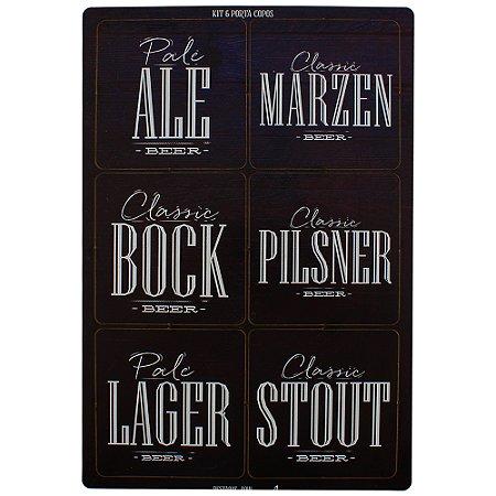 Conjunto 6 porta copos com tipos de cervejas