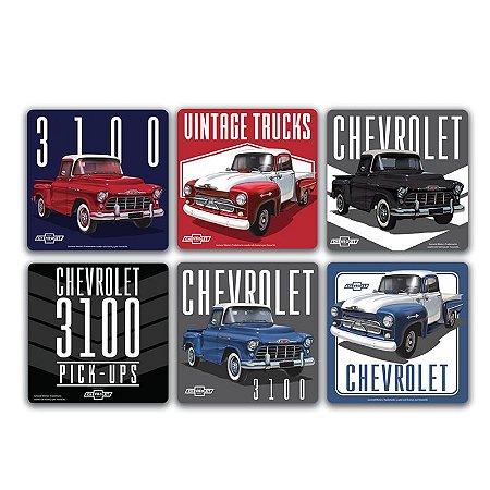 Conjunto 6 porta copos em cortiça GM 3100 Chevy Trucks colorido 10x10cm