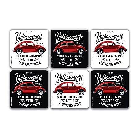 Conjunto 6 porta copos em cortiça VW Fusca Legendary vermelho 10x10cm