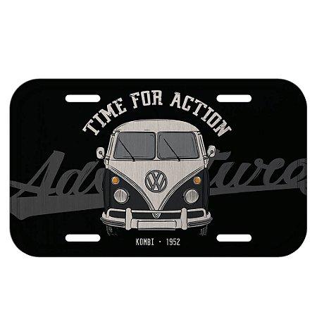 Placa decorativa carro VW Kombi Vintage preto