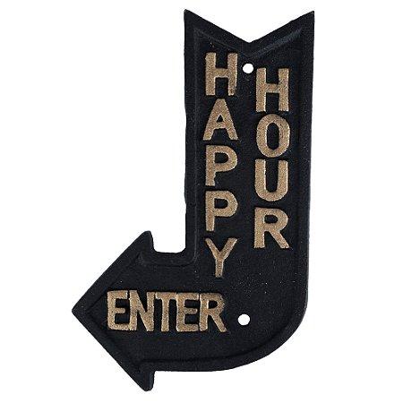 Placa decorativa Happy Hour preto