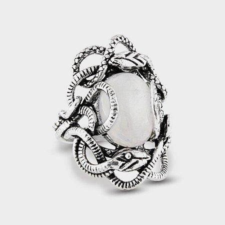Anel Oval Cobras em Prata 925 e Pedra da Lua