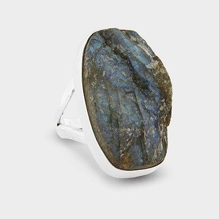 Anel Pedra Bruta Labradorita em Prata 925