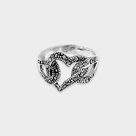 Anel Coração Prata 925 e Marcassita