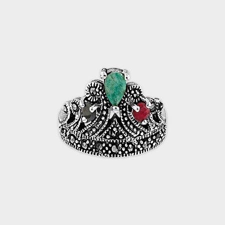 Anel Coroa Prata 925 e Rubi / Safira / Esmeralda