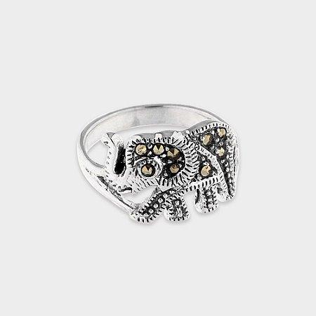 Anel Elefante Prata 925 e Marcassita