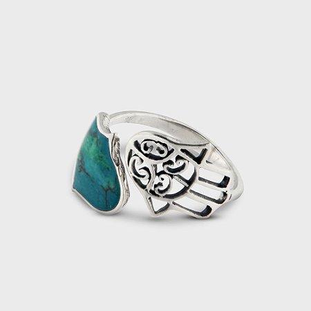 Anel Hamsa em Prata 925 e Pedra de Salomão