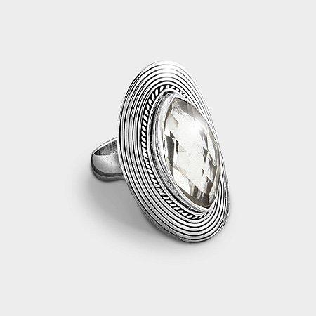 Anel Oval Prata 925 com Pedra Natural