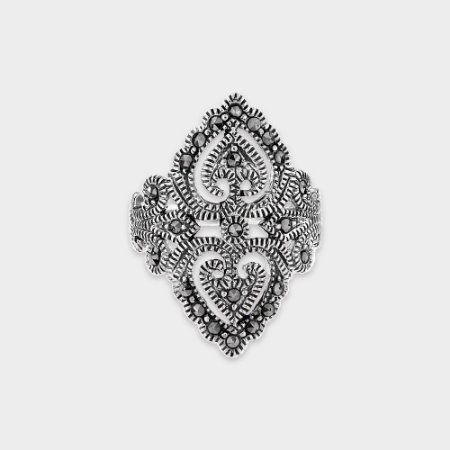 Anel Prata 925 2 Corações Marcassita