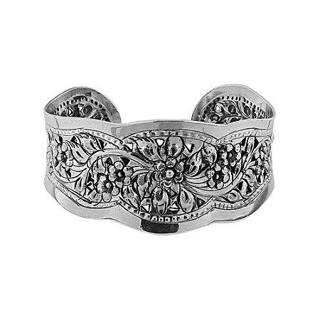 Bracelete Flor Trabalhado Prata 925