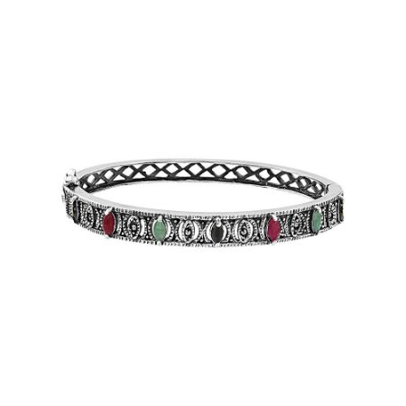 Bracelete Prata 925 com Esmeralda / Rubi / Safira e Marcassitas