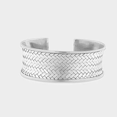 Bracelete Rústico Trançado Prata 925