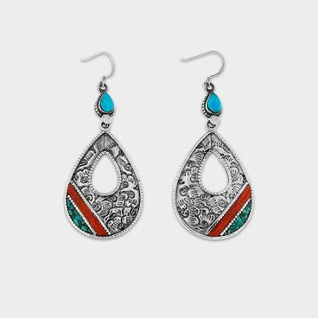 Brinco Nepal Gota Turquesa e Prata 925