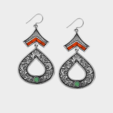 Brinco Nepal Triangulo + Gota Vazada Prata 925 e Pedras Naturais