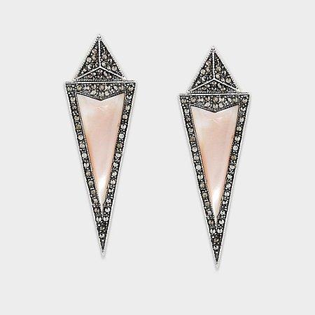 Brinco Triangular Marcassita e Madrepérola Rosa ou Abalone