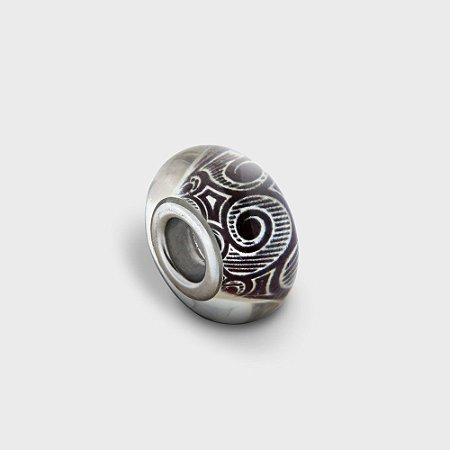 Charm Murano Espiral P&B Prata 925