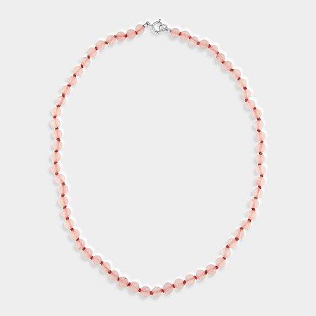 Colar Quartzo Rosa e Prata 925