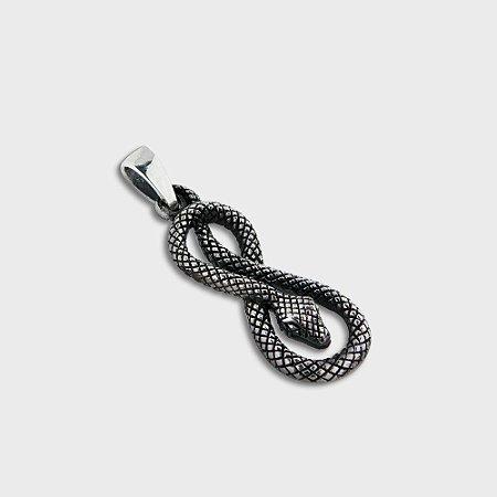 Pingente Cobra Infinito em Prata 925