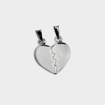 Pingente Coração Dividido em Prata 925