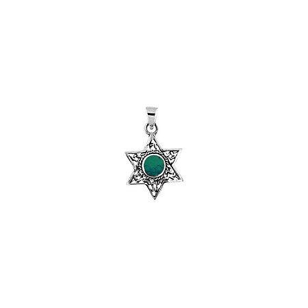Pingente Estrela de Davi Prata 925 e Pedra de Salomão