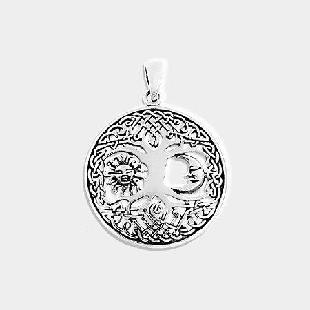 Pingente Místico Árvore da Vida com Sol e Lua Prata 925