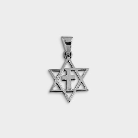 Pingente Místico Estrela de Davi com cruz Prata 925