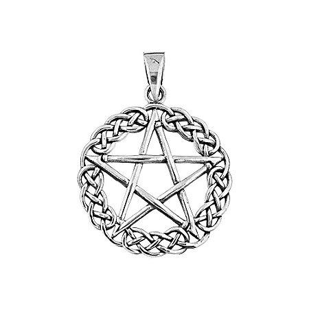 Pingente Místico Pentagrama e Nó Infinito Prata 925