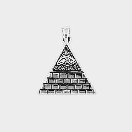 Pingente Místico Pirâmide e Olho da Providência Prata 925