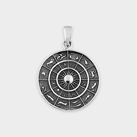 Pingente Místico Roda do Zodíaco Prata 925