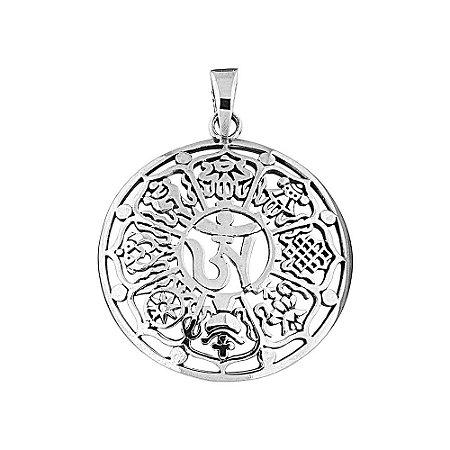 Pingente Místico Símbolos Tibetanos Prata 925
