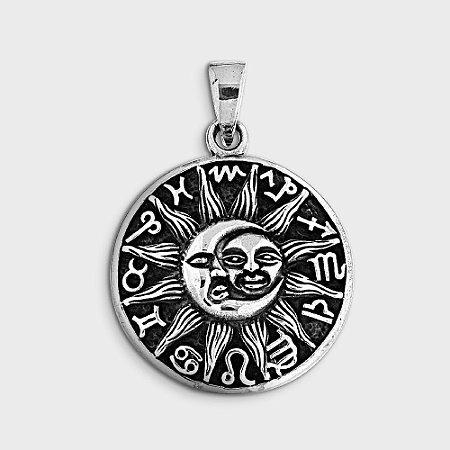 Pingente Místico Sol e Lua com Roda do Zodíaco Prata 925