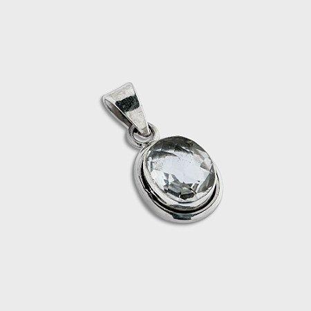 Pingente Oval em Prata 925 e Cristal