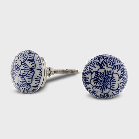 Puxador Cerâmica Arabesco Azul