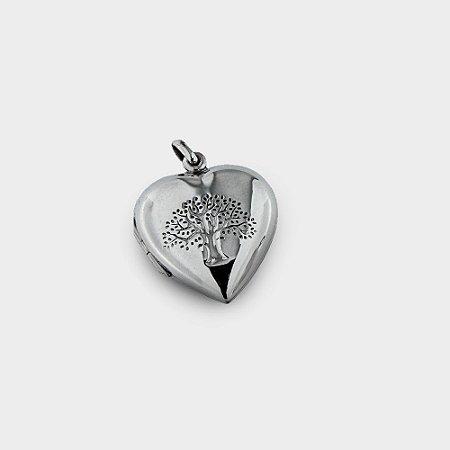Relicário Coração e Árvore em Prata 925