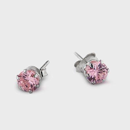 Brinco Plug Rosa em Prata 925 e Zircônia